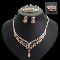 luxury mosaic crystal Jewelry Set 18k Gold Plated Necklace E...