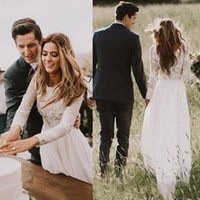 2018 Bohemian Lace Wedding Dresses Com País Long Sleeves Andar Comprimento A Line Lace Applique Chiffon Boho Bridal Gowns Cheap