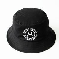الجملة-شحن مجاني لا تتلاشى القطن تنفس الأسود طباعة الهيب هوب قبعة حزين بنين بنما دلو القبعات الرجال بوب boonie الصيد قبعة