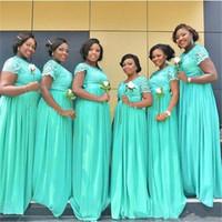 Mint Green Plus Size Brautjungfer Kleider Long 2019 South African Günstige Prom Kleider mit kurzen Ärmeln Maid of the Honor Kleider für Hochzeit