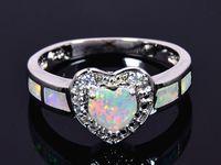 Atacado Varejo Moda Fine White Opal Anéis de Fogo 925 Banhado A Prata Jóias Para As Mulheres RJL1528003