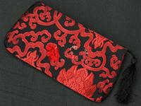 كبيرة الحرفية هدية عيد حقيبة للمجوهرات تغليف سستة النساء محفظة عملة محفظة شرابة الصين الحرير الديباج ماكياج تخزين الحقيبة 20x10 سنتيمتر