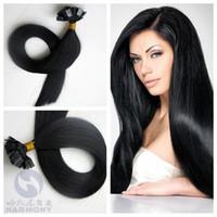 Önceden bağlanmış saç uzantıları 1 g / strand 50 g / adet siyah renk 1 # düz karetin düz ucu% 100% İnsan saç uzatma