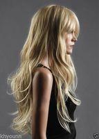 100 ٪ العلامة التجارية الجديدة عالية الجودة موضة الصورة wigslong الغربية إمرأة لمة مثل الشعر الطبيعي الحقيقي موجة مجعد شقراء الباروكة الباروكات