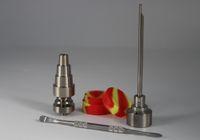 Juego de herramientas BONG 10mm 14mm 18 mm Domiess GR2 Titanio Nail Cap Cap Dabber Tarro de silicona para vidrio BONG Fumar Tuberías de agua Bongs