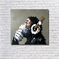 Hot Sale Handpainted Monkey Artwork Oil Painting On Canvas L...