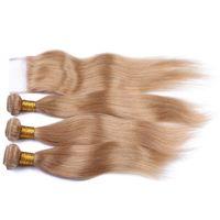 9A El cabello humano liso y sedoso teje 3 paquetes con cierre de encaje Honey Blonde # 27 Cierre de encaje con extensiones de cabello 4 piezas / lote