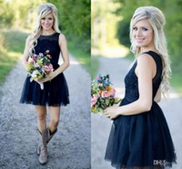 2017 Dark Navy Country Style Short Bridesmaid Dresses Sheer ...