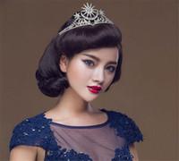 Boda de la vendimia Novia Novia Reina Corona Tiara Accesorios para el cabello Joyas Prom Plata Cristal Diamantes de imitación Diadema Tocados Joyería de moda