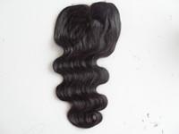 Brasilianische menschliche jungfrau Haarverlängerung Spitze Front Grade 7A Haarprodukt Unverarbeitete natürliche schwarze Körperwelle 4 * 4 Zoll Spitzeverschluss