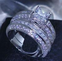 .Retro الحجم 6-10 الأميرة قص شغل في 10K الذهب الأبيض مجموعة الأبيض توباز خاتم الزواج هدية