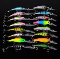 16pcs / set Minnow Fishing Lures Mixed 2 Modelos 16 Color Minnow Fishing Wobblers Crankbaits Mix Aparejos de pesca
