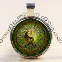Green mandala time gem of yin and yang pendant necklace silv...