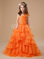 Sweet Pumpkin One Shoulder Perline Organza Flower Girl Dress Abiti da spettacolo per ragazza Princess Holiday Skirt Formato personalizzato 2-14 H907046
