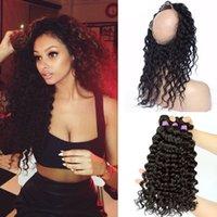 Hot Selling 360 Lace Frontal med buntar 9a Malaysisk hår Djupvåg med 360 Circular Back Lace Frontal med 3 buntar 22.5 * 4 * 2