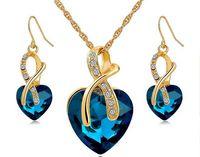 El oro plateó sistemas de la joyería para los pendientes de las mujeres del collar cristalino del corazón de la joyería conjunto de novia Accesorios de boda 2016 HJIA849