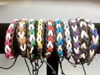 10 Mischfarben Männer Frauen Mode Braid Leder Seil Armbänder Schmuck Surf Freundschaft Armband Armreifen Paar Armband 50 Teile / los
