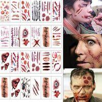 Жуткий Хэллоуин Зомби Шрамы Татуировки Поддельные Парша Кровавый Макияж партия Украшения Хэллоуина Рана Ужаса Страшные Кровавые Наклейки
