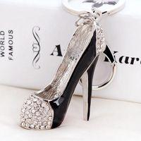 3D أحذية مفاتيح حامل الحلي الجدة أحذية عالية الكعب سلاسل محفظة حقيبة يد سحر حجر الراين ديكور صندل كيرينغ مجوهرات الهدايا