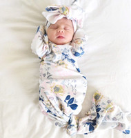 유아 아기 소녀 잠자는 가방 신생아 아기 부드러운 목화 잠긴 자루와 일치 머리띠 두 조각 0-3m에 대 한 아기 Swaddle 랩 설정