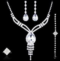 Conjuntos de jóias de casamento Brincos Colar anéis pulseira Acessórios um conjunto incluem quatro pcs moda de luxo novo estilo frete grátisHT126