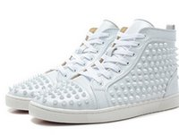 Size 35- 46 Men Women White Leather With Spikes High Top Red ...