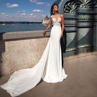 Scoop apliques de encaje ver a través de sirena vestido de novia de gasa con trenes de falda desmontable Vestido nupcial Vestido de Novia Vintage