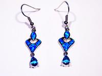 Großhandelseinzelhandel-Art- und Weiseblauer feiner Feuer-Opal-Ohrringe 925 versilbern Schmucksachen für Frauen EJL1631012