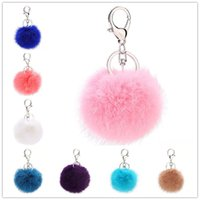8cm Lobster Clasp Fluffy Ball Keychain Cute Imitation Fur Ba...