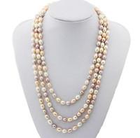 7-8mm blanc rose violet mélangé couleur riz forme naturelle collier de perles 54inch simple brin