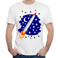 Camisetas de manga corta Rocket Rushing to Blue Space Science Pattern Camisas para hombres Descuento Unique Personality Tees