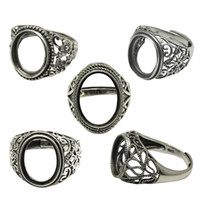 Beadsnice Thailand Silver Rings DIY Ring Setting Antique Style Filigree Ring Base for Oval Stones Sterling Silver Rings wholesale ID 34080