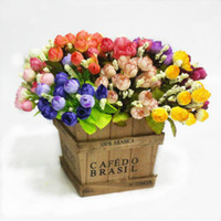 Colorful Silk Flowers artificial flower 15 heads Mini Rose H...
