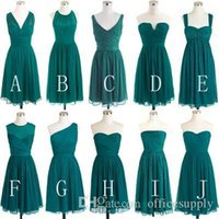 Simple Chiffon Teal Green Bridesmaid Dresses 2016 Short Conv...