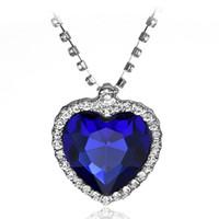 أزياء 18 كيلو الذهب الأبيض مطلي الأزرق النمساوي كريستال الحب القلب قلادة للنساء الياقوت الماس قلادة الزفاف مجوهرات بالجملة