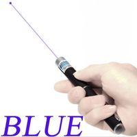 Luz azul Láser Pen 5mW 405nm puntero láser Pen Beam para SOS Montaje Night Hunting Enseñanza Regalo de Navidad Paquete Opp Ventas al por mayor 10pcs / lot