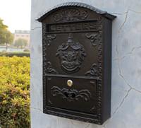 Dökme Alüminyum Posta Kutusu Postbox Kabartmalı Trim Metal Posta Sonrası Mektuplar Yard Yard Veranda Çim Bahçe Dekorasyon için kutu D ...