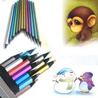 Marco Raffine'de Güzel Sanatlar 12pcs / set Kid Yetişkin Tepekoy Çizim Eskiz Seti Kırtasiye İçin Metalik Renkli Kalem Toksik olmayan