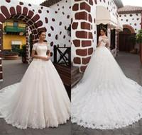 Princesa romántica Mangas cortas Vestido de novia Glamoroso encaje apliques Capilla tren A-Line Vestidos de novia Robe de Mariage