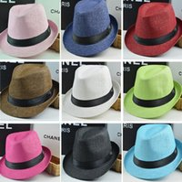 새로운 패션 남성 여성 태양 모자 밀짚 모자 소프트 밀짚 모자 야외 인색 모자 챙 모자 6 색 파티 모자 4111을 선택
