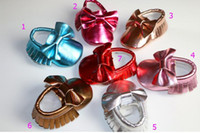 7 Color Baby bow moccasins soft sole PU leather first walker...