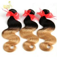 Ombre Hair Extensions Two Tone 1b / 27 Blonde Ombre Brasiliana Dell'onda Del Corpo Dei Capelli Tessuto Peruviano Malese Indiano Tessuto Dei Capelli Umani Doppia Trama
