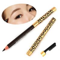 La più nuova signora delle donne doppio uso impermeabile marrone nero leopardo trucco cosmetico penna matita per sopracciglia con pennello trucco strumento
