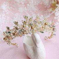 Commercio all'ingrosso Wedding Bridal Headpiece Accessori per capelli Gold Beaded Fascia Principessa Corona Tiara Queen Gioielli Crystal Rhinestone Headdress