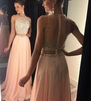Pfirsich Prom Kleider Zwei Stücke 2017 Perlen Kristall Chiffon Eine Linie Rosa Lange Abendkleider Vestidos de Fiesta