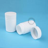 24pcs / Lot Promotion 80ml Vide Bouteille Rechargeable En Plastique Blanc Cap 80g Pot Solide Échantillon Pot Portable Capsule Flacon De Haute Qualité