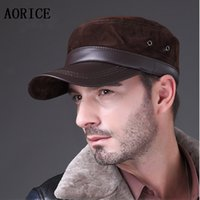 Wholesale-HL026 New lambskin sheep skin in Russia genuine leather Grin suede genuine hat baseball cap