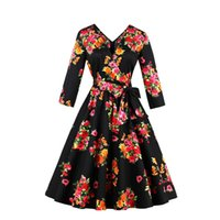 1950s Women Summer Autumn Vintage Floral Print Retro Dresses...