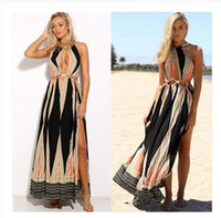 Sexy halter geometic print bohemian holiday seaside dress su...
