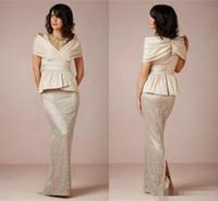Vintage Lace Off Schulter Mutter der Braut Kleider Schößchen Mantel bodenlangen Brautjungfer Bridal Party Abendkleider Plus Größe billig 2019